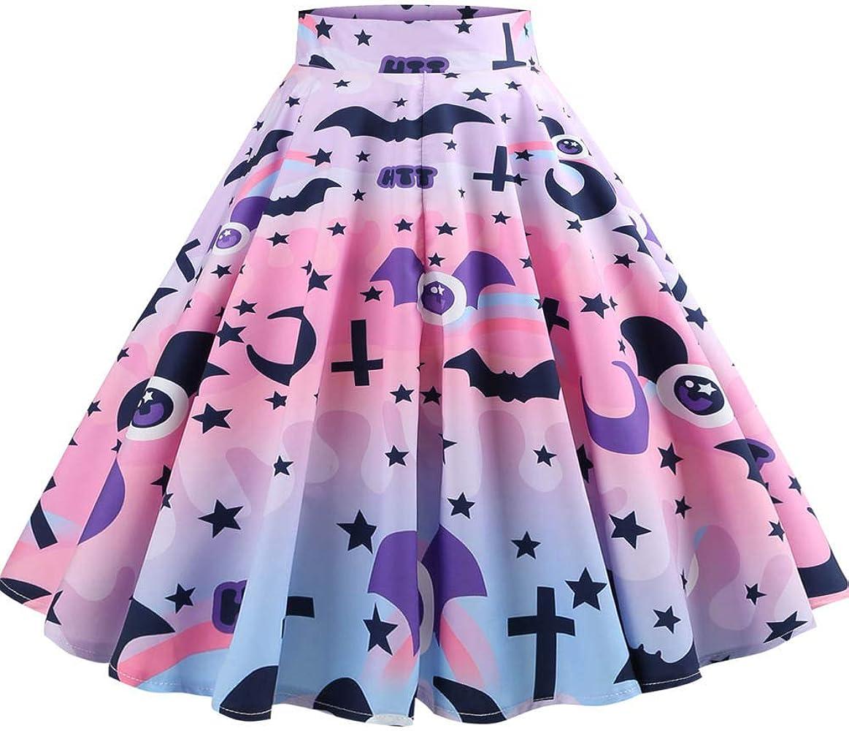 FRAUIT Falda Casual Falda Plisada Vestido de Noche Estampado ...