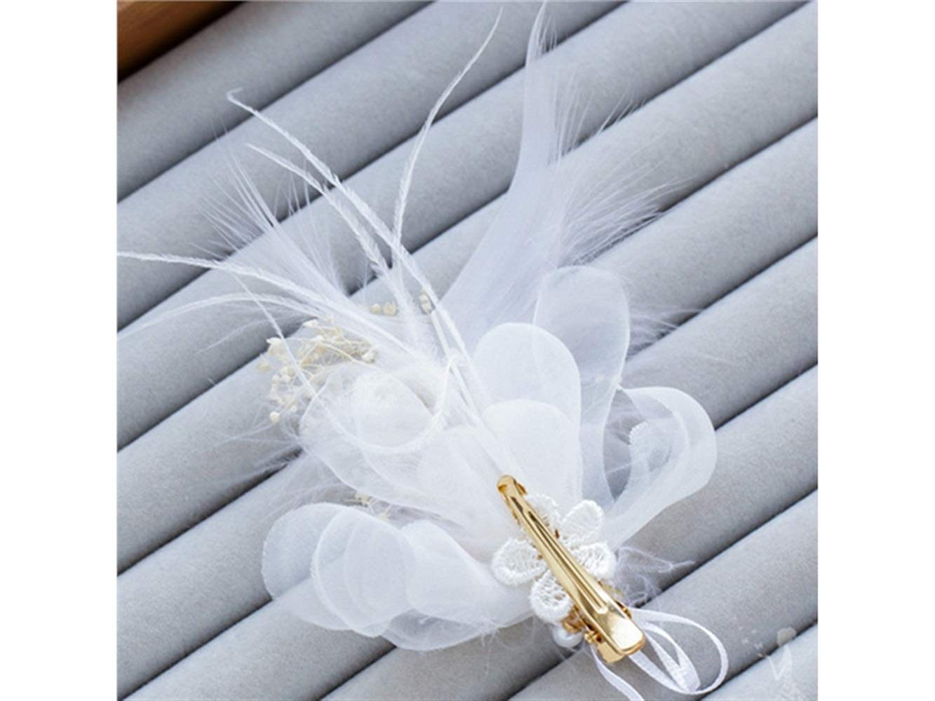 Horquilla Pluma Pinza de pelo perla horquilla Hilado Pinza de pelo Novia accesorios para el cabello boda horquilla (blanco) Peluquería GYPO