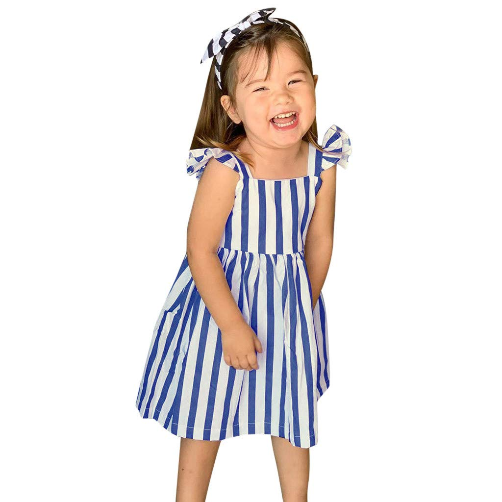 Baby Girls Infant Toddler Kid Clothes Stripe Bow Princess Outfits Dress Summer