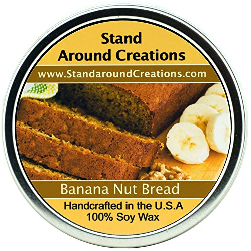 Premium 100% All Natural Soy Wax Aromatherapy Candle - 2 oz Tin Banana Nut Bread: The mouth-watering aroma of oven fresh banana bread. This delicious combination of walnuts, ripe banana, vanilla, and a touch of spice is sure to spark your appetite. Multiple sizes Available (6 oz.)