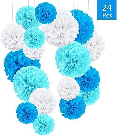 vente limitée style populaire avant-garde de l'époque O-Kinee 24pcs Decoration Bapteme Garcon Bleu, Pompons Papier ...