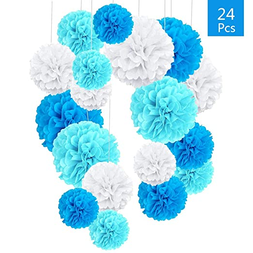 Pompones de Papel Blanco, 24 Pcs Para Decoración de Cumpleaños, Bodas o Fiestas Boda Cumpleaños Fiesta Comunión Bautismo Graduado