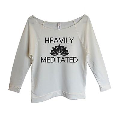 "Womens 3/4 Sleeve Raglan ""Heavily Meditated"" Yoga Sweater Gift- Funny Threadz"