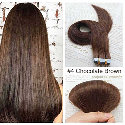SHOWJARLLY Seamless Remy Tape in Hair Extensions Real Human Hair 24inch Straight #4 Chocolate Brown Tape on Skin Weft Hair Extensions (50g Chocolate)