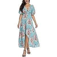 hot Sale Womens Summer Casual High Waist Bohemia Print V Neck National Style Long Dress