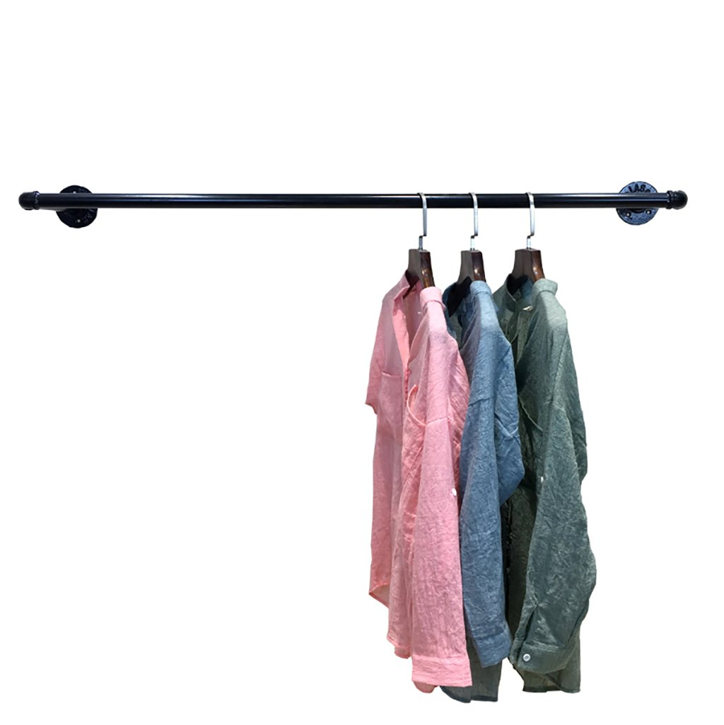 Coat Rack Clothing Store Display Shelf on The Wall Clothes Men and Women Children's Clothing Store Shelves Wall Hanging Side Hanging Pipes Retro Shelf (Size : 10025cm)