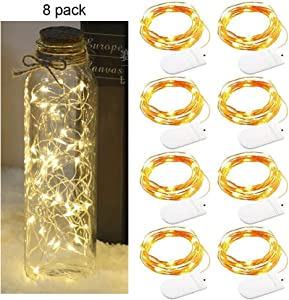 XINKAITE 8pcs Led String Lights Waterproof 7.2ft/20 LEDs Fairy Lights Battery Operated String Lights for Wedding, Home, Garden, Party, Christmas Decoration (Warm White)