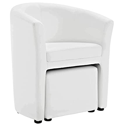 Groovy Amazon Com Attractive Modern White Arm Chair And Ottoman Dailytribune Chair Design For Home Dailytribuneorg