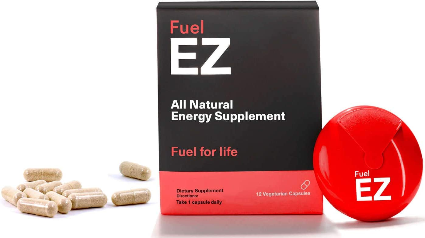 Fuel EZ All Natural Energy Capsules – Jitter-Free Focus, Immune Boost Mood Supplement – Non-Crash Extended Release Pills – Guarana Green Coffee Bean Extract, Caffeine, L-Tyrosine, B12-12 Servings