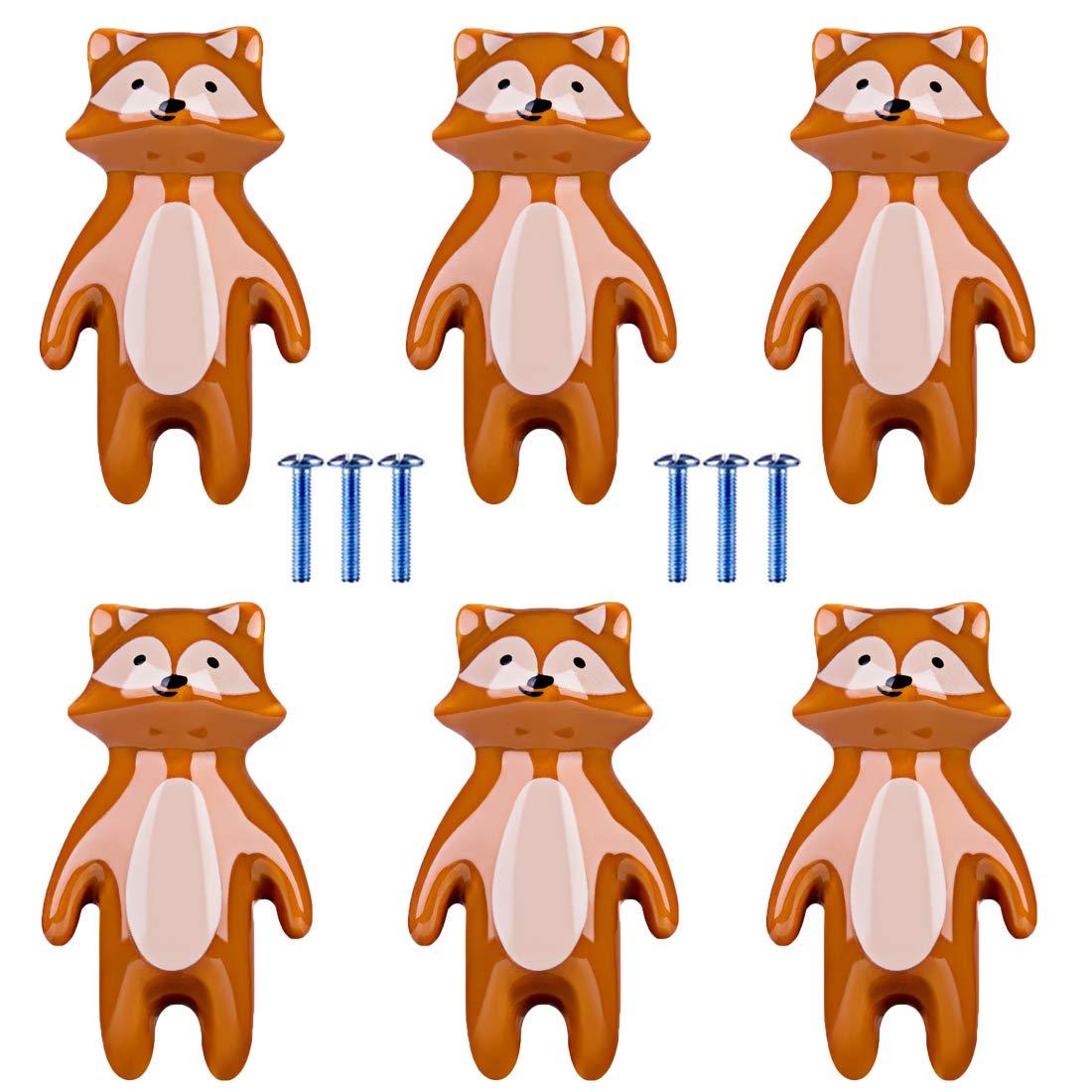 TETAKE M/öbelkn/öpfe Kinderzimmer 6x Keramik Schubladenkn/öpfe Kinder Motiv Tier mit Schraube f/ür M/ädchenzimmer oder Jungenzimmer