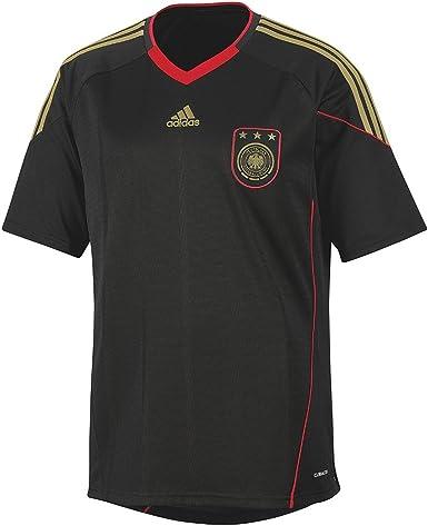 adidas - Camiseta de fútbol para niño, diseño de selección de Alemania (Segunda equipación), Color Rojo y Negro Negro/Rojo Talla:14 años: Amazon.es: Ropa y accesorios