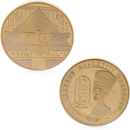 YiPong - Colección de Monedas conmemorativas de Egipto Nefertiti, bañadas en Oro: Amazon.es: Hogar