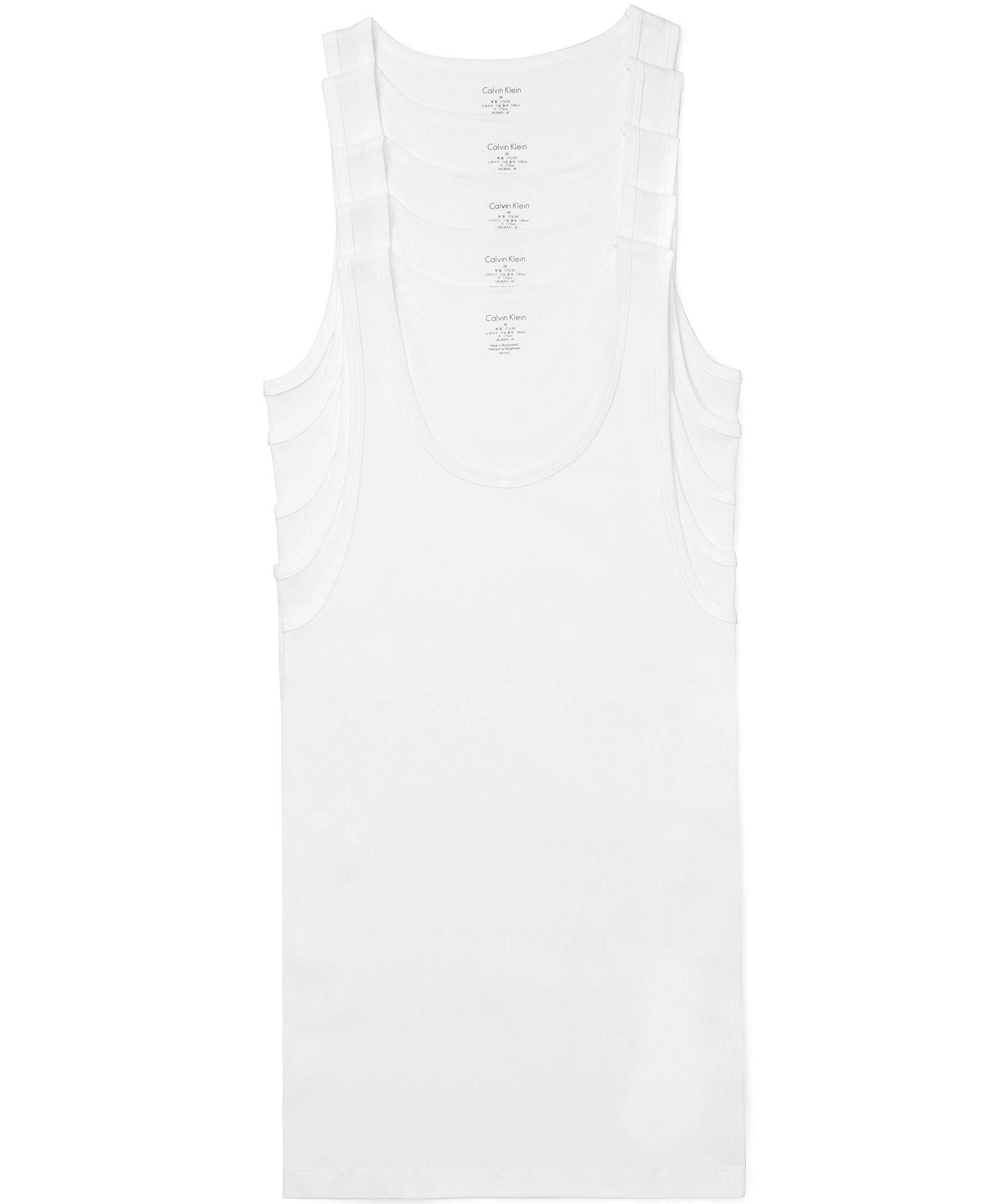 Calvin Klein Men's Cotton Classics Multipack Tanks, White (5 Pack), M by Calvin Klein