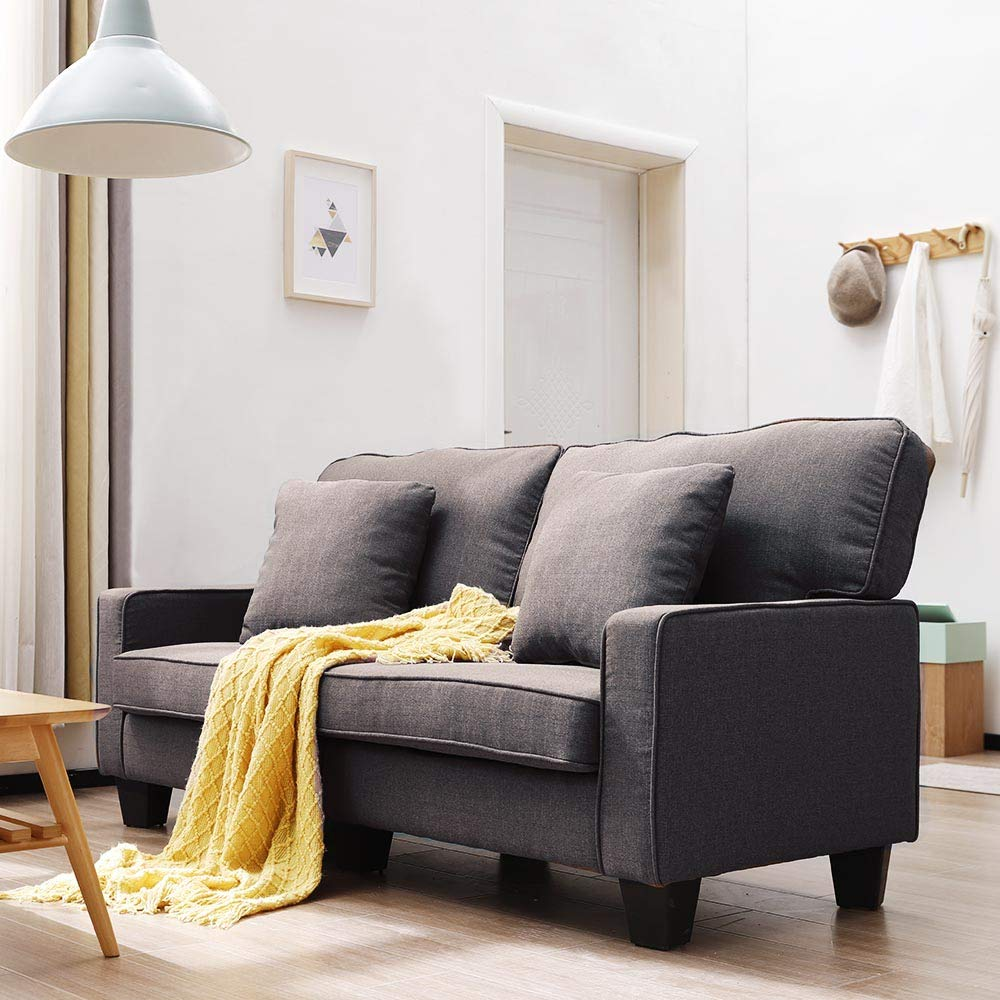 Modern Upholstered Loveseat Sofa Linen Fabric Couch Futon LUXES Sofa Couch