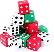 Super Z Outlet Assorted Colorful Dice in White, Red, Green for Board Games, Activity, Casino Theme, Party Favors, Toy Gifts