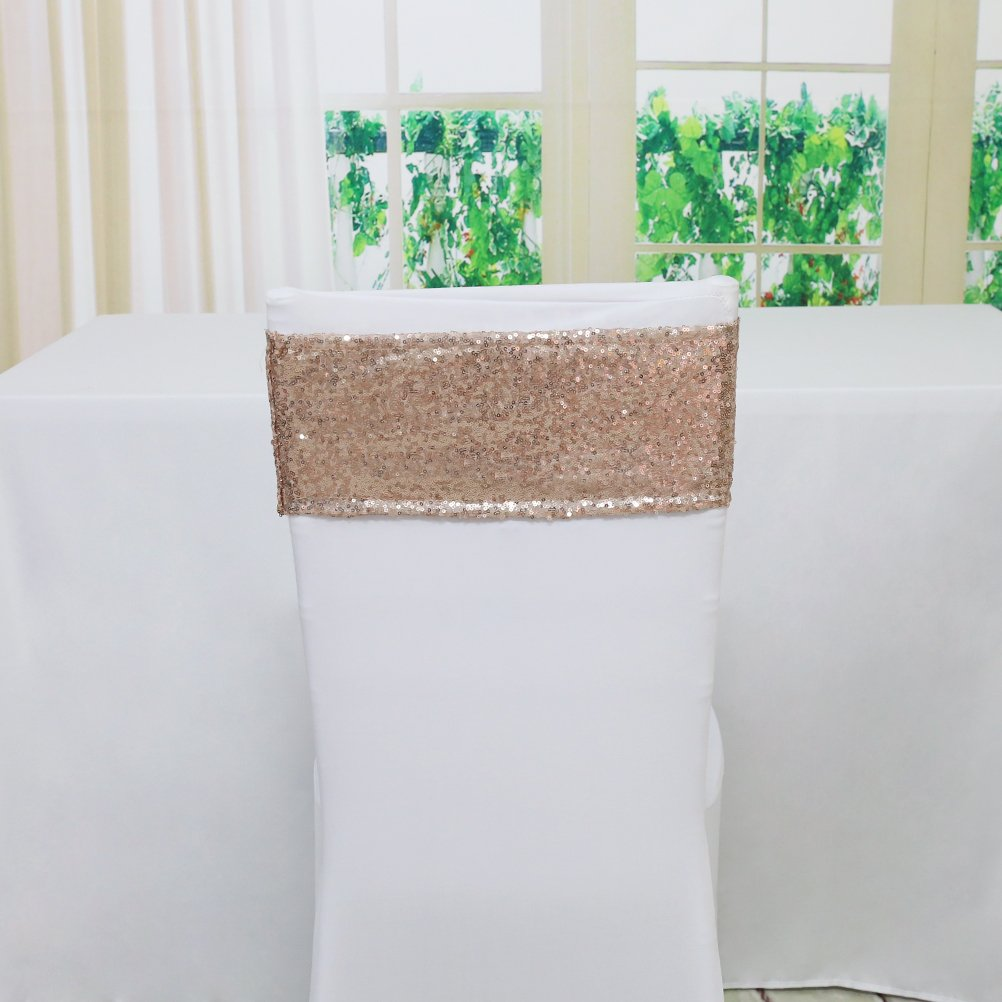 TRLYC 30 Pieces Spandex Chair Sequined Sashes 6 by 14Inch- RoseGold