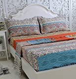 FADFAY Brand Cotton Bed Sheet Set Boho Fitted Sheet 4Pcs-King