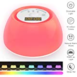 Wake Up Light Luces-Despertador Simulación de Amanecer con Modo de Luz de Color por 120 Horas, Función de Luz de Ayuda al Sueño,4 Sonido de Alarma Natural, 3 Modos de Iluminación & 7 Colores