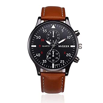 Noopvan Men Quartz Watch Analog Dress Watches Relojes Round Dial Case Leather Band Watches-W07 (Black) - - Amazon.com