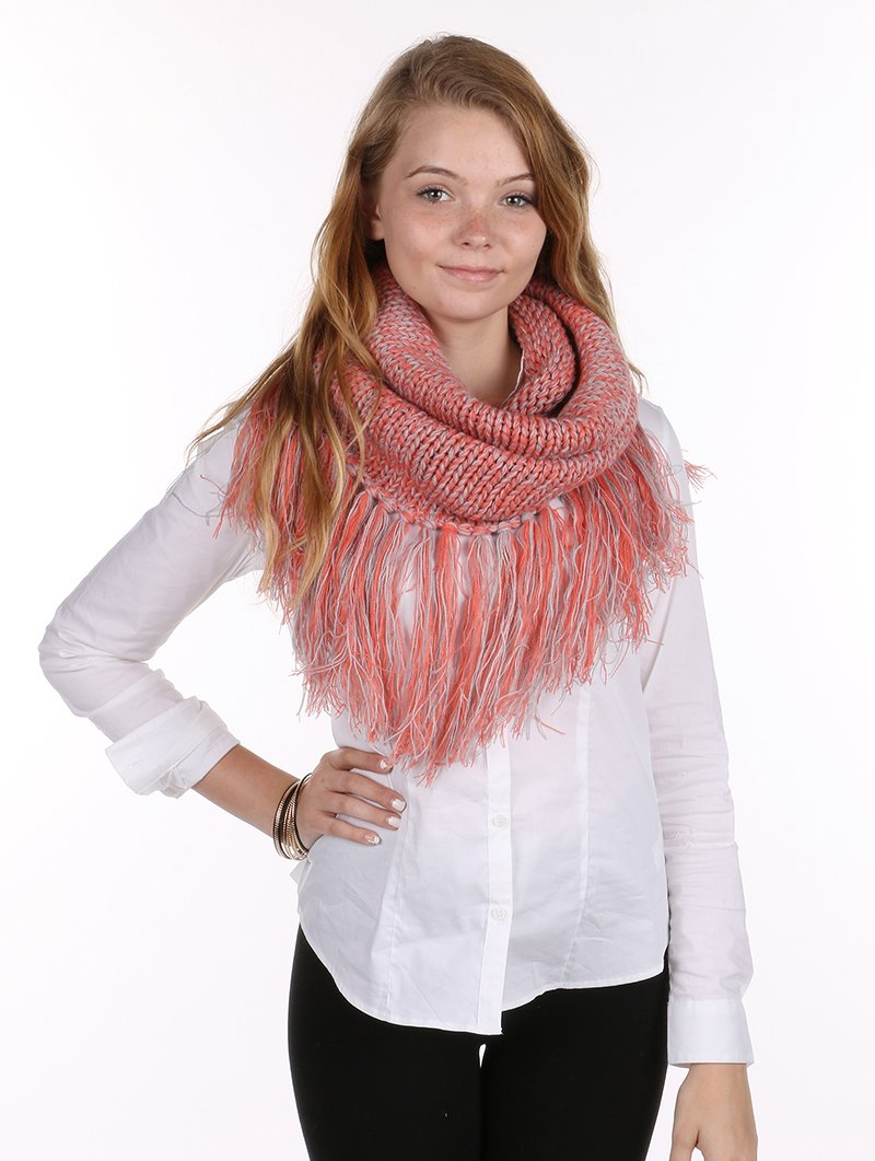 RI001 TWO COLOR KNIT NECKWARMER SCARF