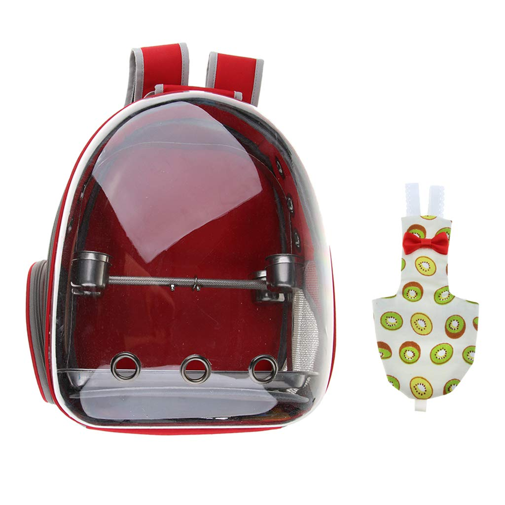 Baoblaze Transparent Pet Breathable Pet Parred Travel Space Capsule Backpack Carrier with Kiwi Pattern Bird Fashion Nappy Diaper (Red)