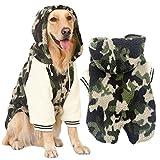 FLAdorepet Winter Warm Fleece Big Large Dog Coat Jacket Camouflage Dog Puppy Hoodie Pajamas Clothing Golden Retriever Pitbull Dog Clothes (7XL, Green)
