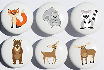 Woodland Forest Animal Drawer Knob Pulls, Ceramic Dresser Cabinet Knobs,  Childrenu0027s Nursery Decor With