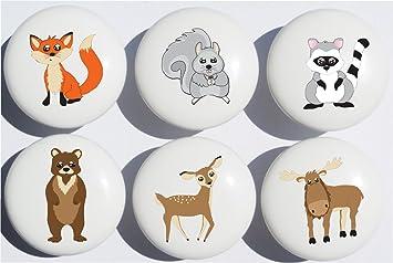 Woodland Forest Animal Drawer Knob Pulls, Ceramic Dresser Cabinet Knobs,  Childrenu0027s Nursery Decor With