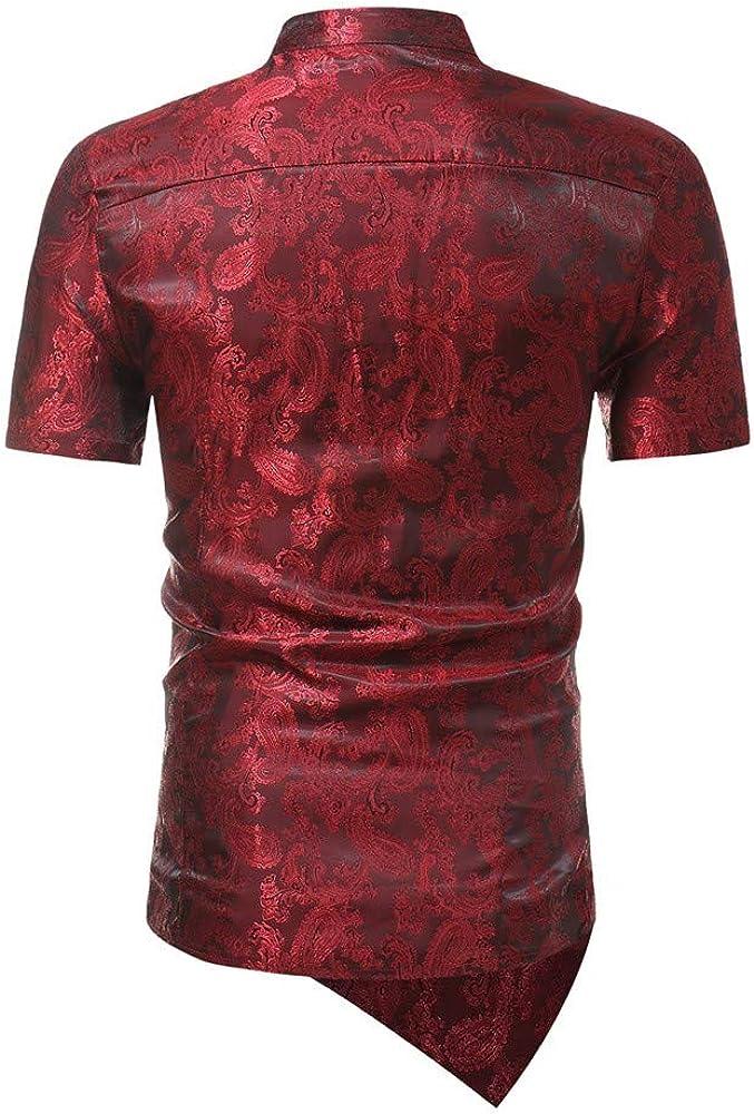 LOPILY M/änner Slim Fit Unregelm/ä/ßige Kurzarm Printed Muscle T-Shirt Top Bluse Shirts Gesch/äfts-Art Einfarbig Sweatshirt Vintage Basic O-Neck Tee Casual Herren Hemd