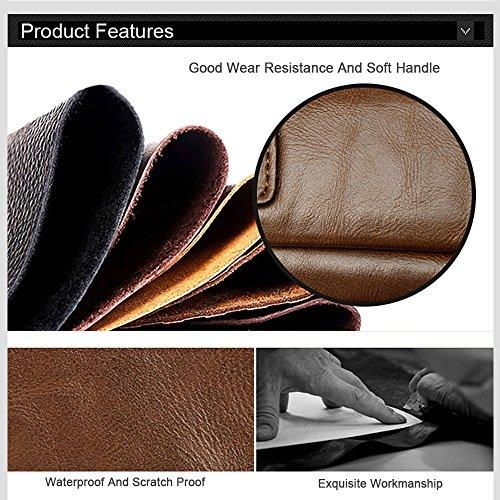 Ranbow Bolso de cuero de cuero de la PU de la mujer de los hombres Bolso del negocio Bolso de cuero de la cartera Bolso de viaje delgado del mensajero delgado marrón