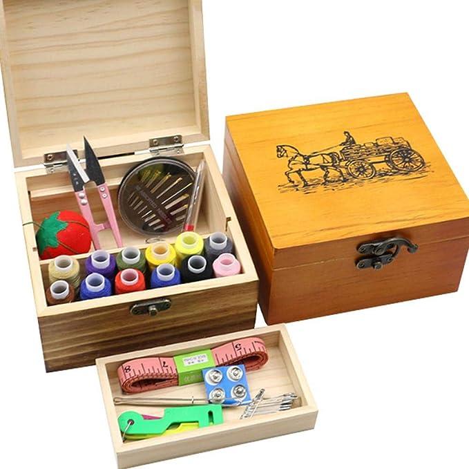 Costurero profesional de madera con accesorios de costura y caja ...