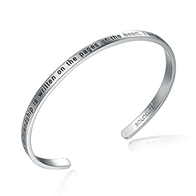 bcf3c8df8e1 Solocute Cuff Bangle Bracelet Engraved The Story of Friendship is Written  On The Pages of The Heart. I Am a Better Me Because of You Inspirational  Jewelry