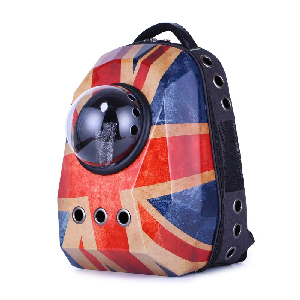 England Pet Carrier Doggie Cat Hand Free Backpack Dog Papoose Carrie Adjustable Padded Shoulder Strap Tote Bag With Space Capsule Bubble Diamond Surface Design Waterproof Outdoor Travel Walking Subway,England