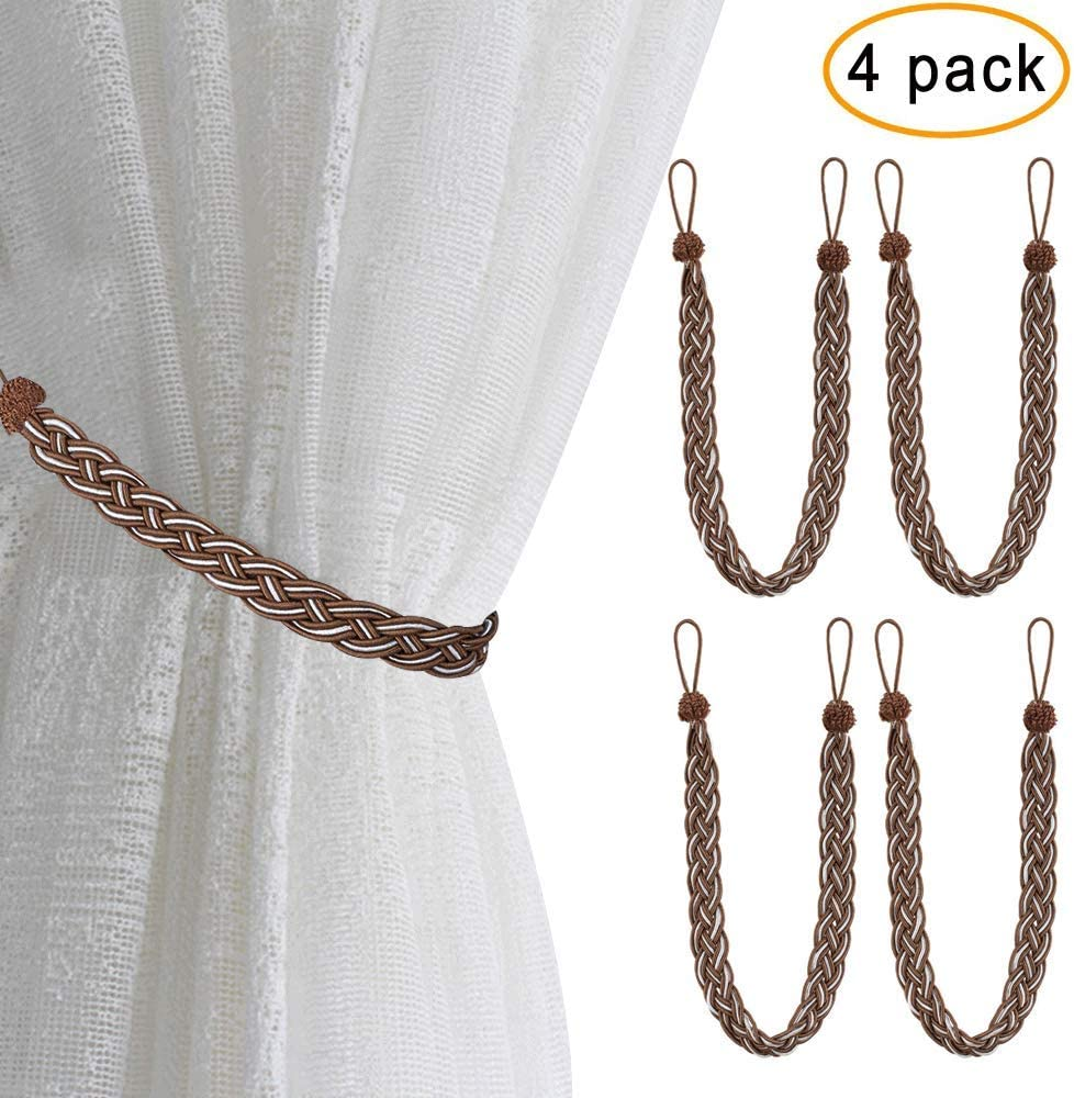 Home Queen Hand Braided Curtain Tieback 2 Rope Cotton Belt Curtain Tie with 2 Metal Hooks Black Buckle Holdback Drapery Curtain Tie Back