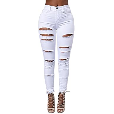 Amazon.com: Small-shop Skinny Woman - Pantalón elástico para ...