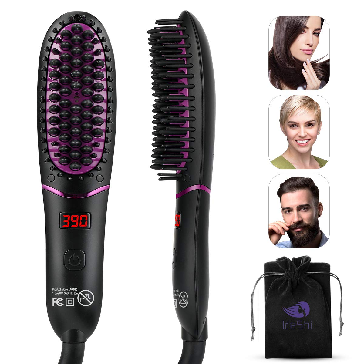 Ionic Hair Straightener Brush, KESHI 30s Fast Heating Ceramic Hair Straightening Brush, Portable Electric Straightening Comb with Anti Scald Feature 5 Adjustable Temperature, Auto-Off Dual Voltage