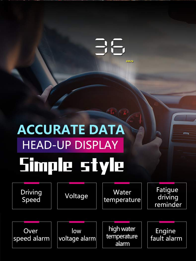 color tree 3.5''A1000 HUD Heads-Up Display Car Projector OBD2 peeometer Speed Warning Warning