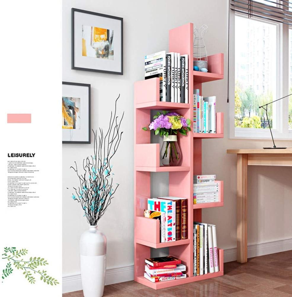 シンプルでユニークなデザイン-リビングルームホームオフィス8色の8層中規模の本棚無料立ち本ストレージオーガナイザー、書籍/CD/アルバム/ファイルホルダー 書籍にスペースを提供する (Color : Pink, Size : 131.6x47.6x20cm)