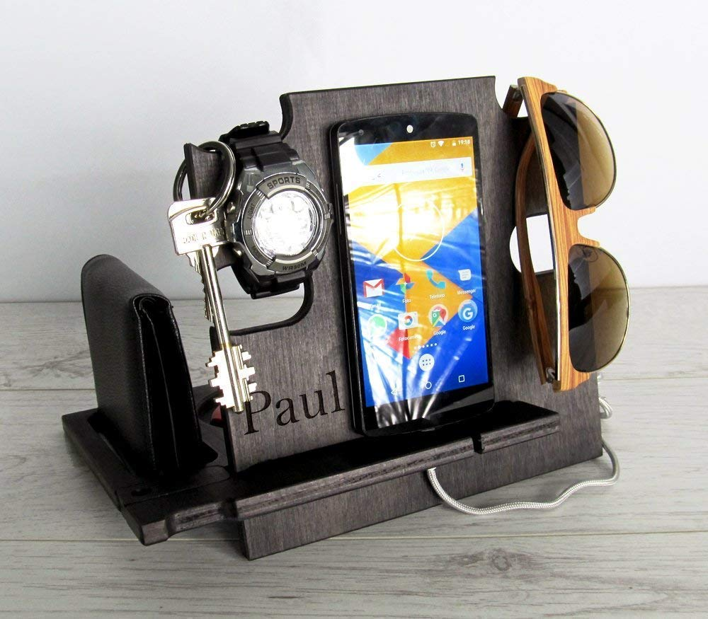 Gift for Men, Personalized Gift, Cell Phone Stand, Desk Organizer, Docking Station, Christmas Gift, Charging Station
