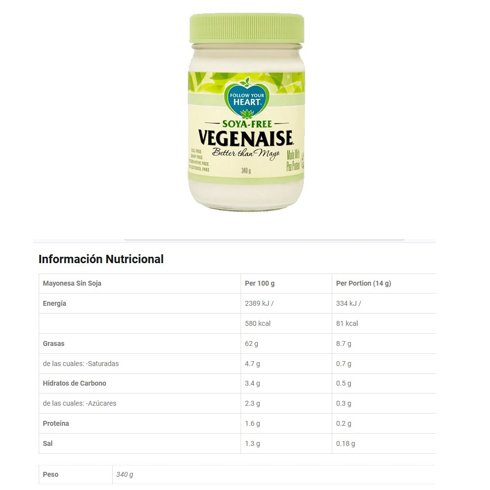 Follow Your Heart : Mayonesa Orgánica Vegenaise 340g & Mayonesa Sin Soja Vegenaise 340g (cada uno de 1): Amazon.es: Alimentación y bebidas
