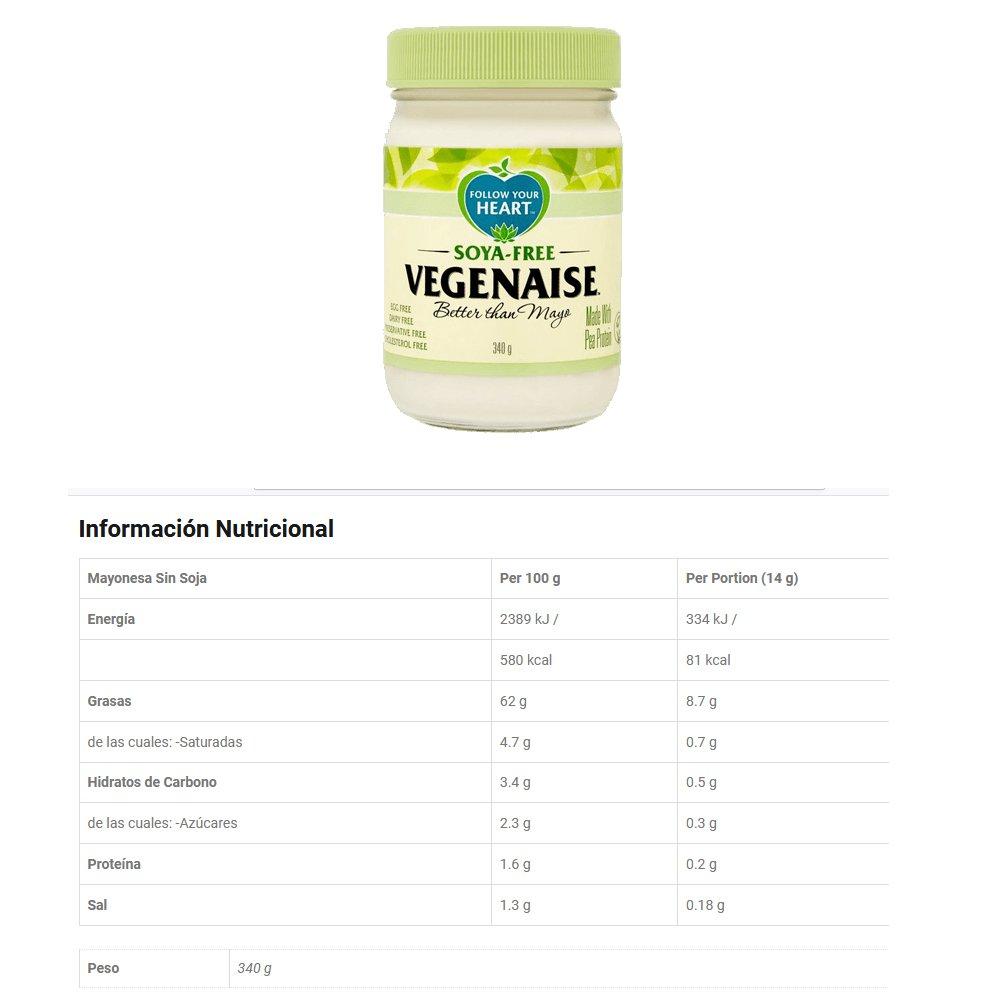 Follow Your Heart : Mayonesa Orgánica Vegenaise 340g & Mayonesa Sin Soja Vegenaise 340g (cada uno de 1): Amazon.es: Alimentación y bebidas