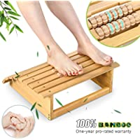 Ej. Life Ergonomic Bamboo Footrest Foot Stool Under Desk Footrest with Massager Rollers for Office Home