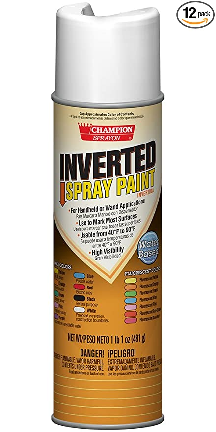 Champion 4856 Inverted Spray Paint, APWA White (Pack of 12)