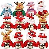 Christmas Jingle Bells Ornament for Home, Christmas Tree, Door,12 PCS Hanging Pendant Decorations, Santa, Snowman, Reindeer, Bear