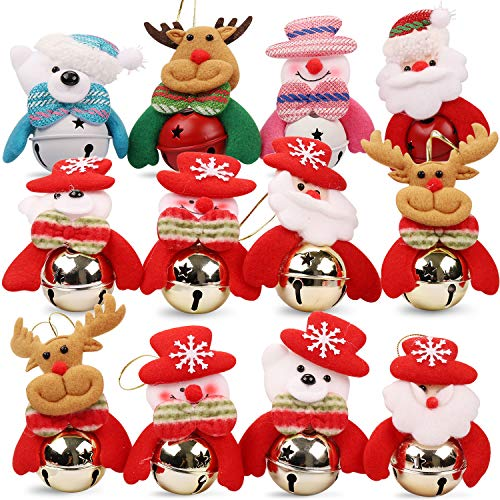 Christmas Jingle Bells Ornament for Home, Christmas Tree, Door,12 PCS Hanging Pendant Decorations, Santa, Snowman, Reindeer, Bear