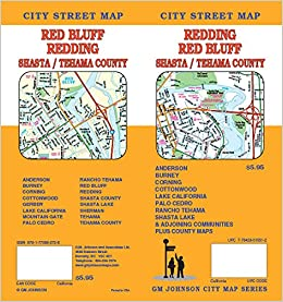 Redding Red Bluff Shasta Tehama Counties Ca Street Map Gm