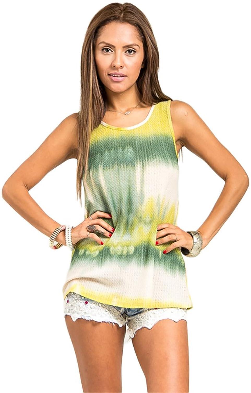 Women's Casual Green Gradient Tropical Dip Dye Vest Tank Top