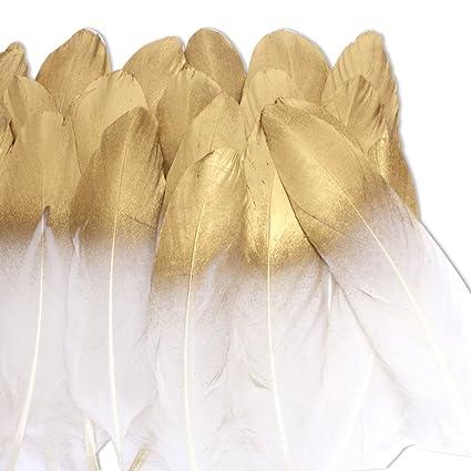 Coceca 36pcs Plumas naturales blancas de la lixiviación de oro, utilizada para diversas fiestas de