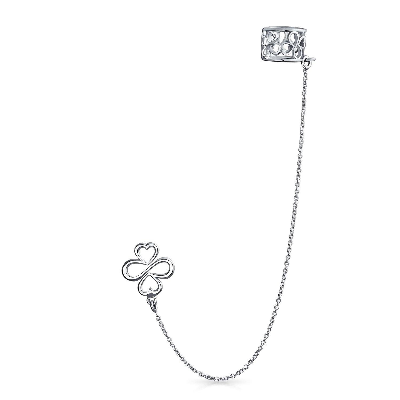 Ayllu Symbol Inspirational Cartilage Ear Lobe Earring Chain Ear Cuff Clip Wrap Helix Stud Earring 925 Sterling Silver by AYLLU