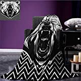 Bear emergency blanket Aggressive Animal with Dangerous Expression Scary Roaring Mammal on Zigzag Pattern Print Black White size:60''x80''